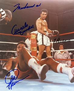 Muhammad Ali, George Foreman & 2 Others, Autograph Reprint 8 X 10 Photo Display on Glossy Photo Paper