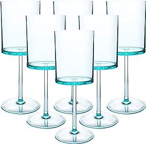 Classic Acrylic Premium Quality Plastic Tumblers |Set of Blue, 6 Each: 15-Ounce, Dishwasher Safe (Blue, 15-ounce)
