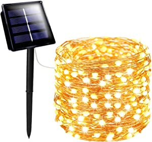 72FT 200 LED Solar String Lights Outdoor, Super Durable Solar Christmas Lights, Waterproof Copper Wire 8 Modes Fairy Lights for Christmas Decorations Party Holiday (Warm White)