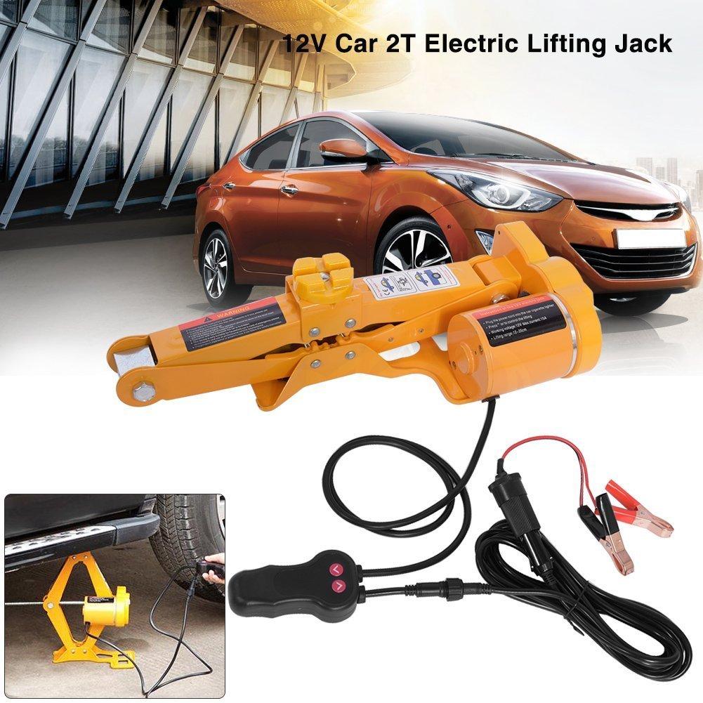 Electric Car Jack-2/3 Ton Automotive Electric Scissor Lifting Jacks SUV Emergency Equipment with Impact Wrench 12V DC RV Floor Jack (2 Ton)