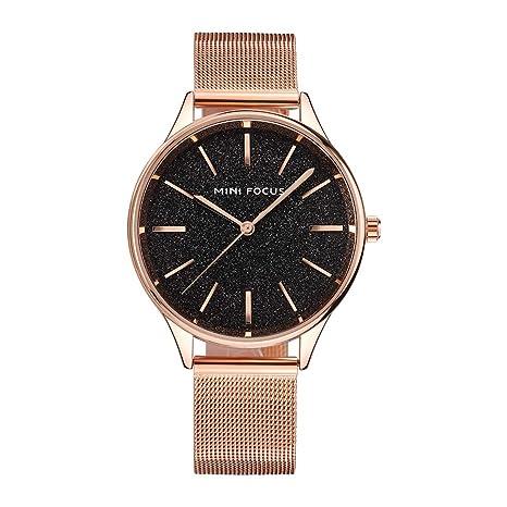Reloj MINI FOCUS de Acero Inoxidable Reloj de Las Mujeres de Lujo Dorado del Reloj análogo de Cuarzo Relojes de señoras (Oro Rosa y Negro): Amazon.es: ...