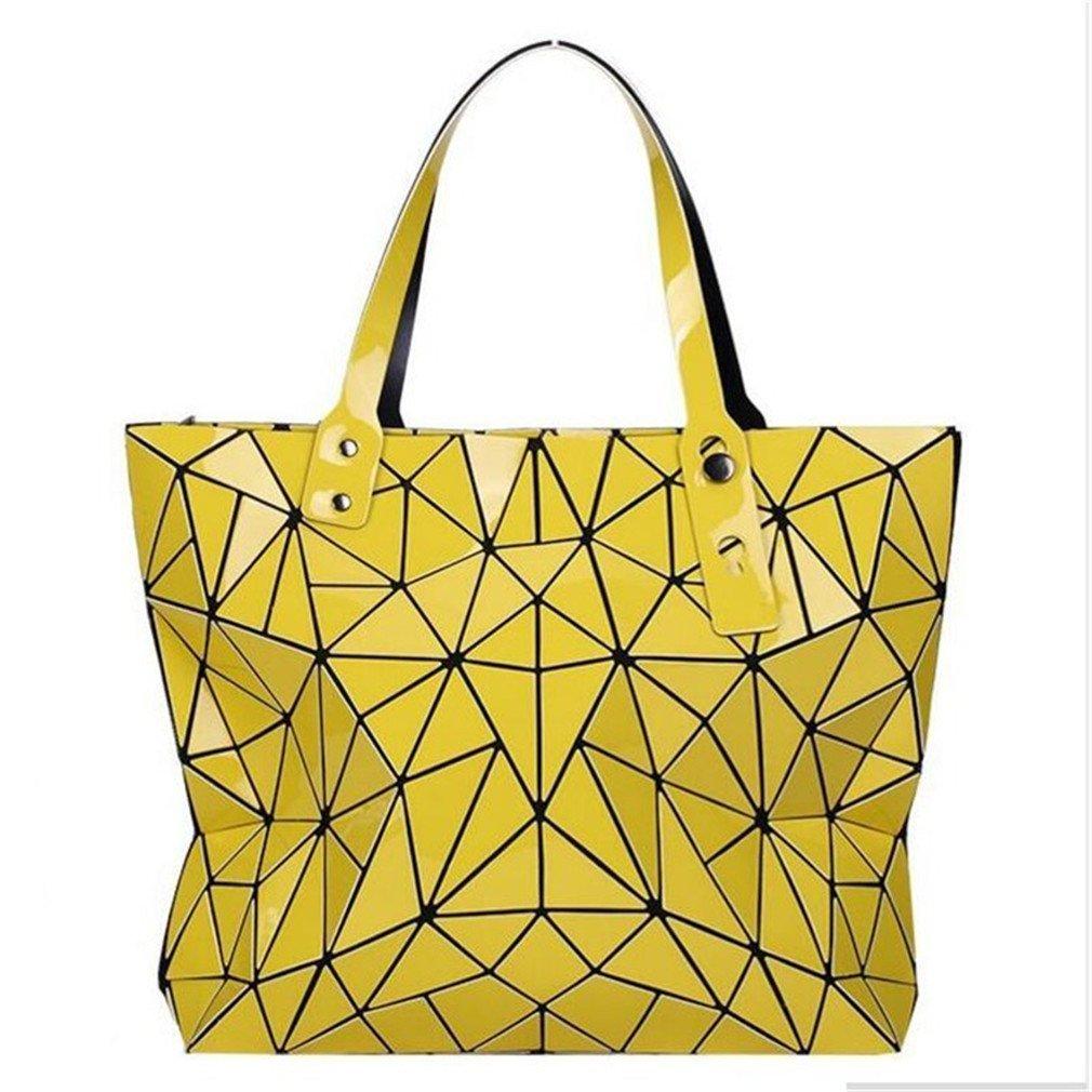 Folding Shoulder Handbags Mirror Geometry Women Tote Top Handle Bag Lady Messenger Bags yellow