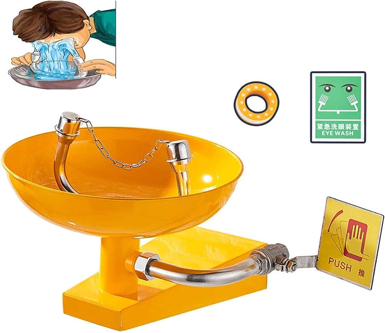 HHYGR Estación lavaojos de Emergencia de Acero Inoxidable montada en la Pared, lavaojos Interior/Exterior con señalización