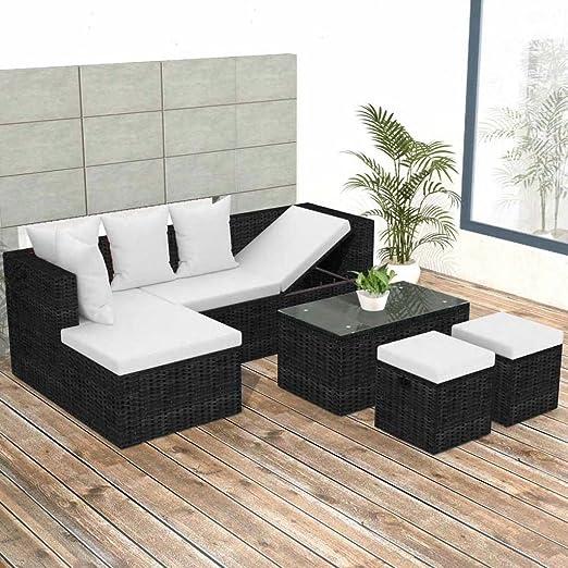 Lingjiushopping Juego sofás de jardín 12 unidades de Polirratán Modular Negro Material Color Pe ratán + Estructura de acero barnizado a polvo + mesa de cristal templado Juego de muebles de exterior: