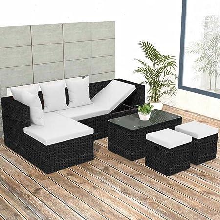 Tidyard Conjunto Muebles de Jardín de Ratán 12 Piezas,Sofa de Exterior para Jardín Terraza Patio,Cojines Extraíbles,Poli Ratán Negro: Amazon.es: Hogar