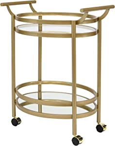 "Studio Designs Home Palazzo Modern 2-Tier Oval Metal Rolling Bar, Serving, Utility Mobile Cart with Handles and Spill Guard in Gold/Clear Glass and Mirror, 27"" W x 17.5"" D x 33.25"" H,"