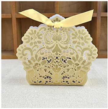 Amazon graces dawn wedding supplies 50 pack laser cut candy graces dawn wedding supplies 50 pack laser cut candy boxes gift box with ribbons bridal shower junglespirit Images