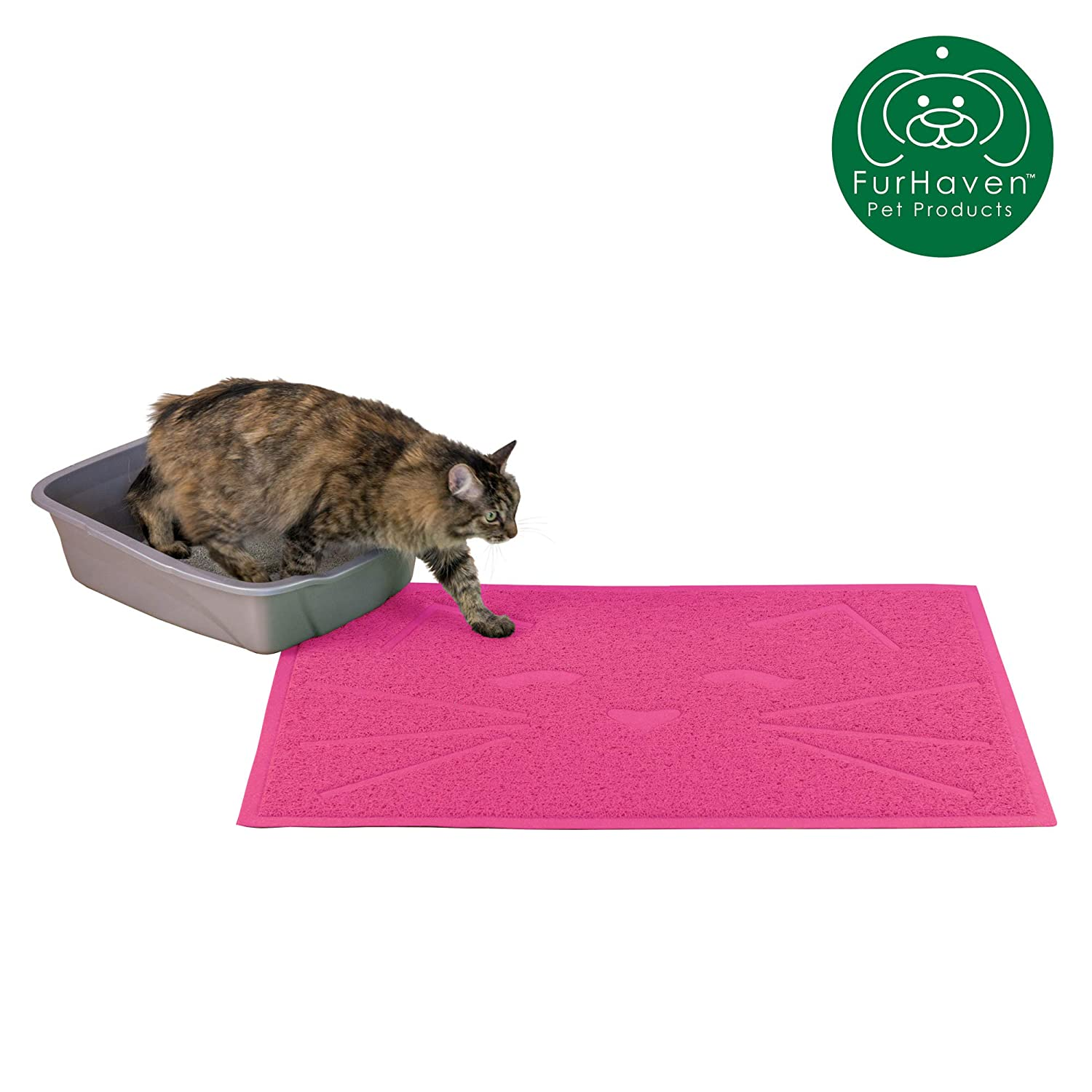 Furhaven Pet Food Mat | Tiger Tough Tidy Paws Litter & Dining Food Mat for Dogs & Cats, Princess Pink, One Size