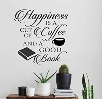 Amazoncom Ditooms Happiness Is Coffee Good Book Vinyl Wall - Vinyl wall decals books