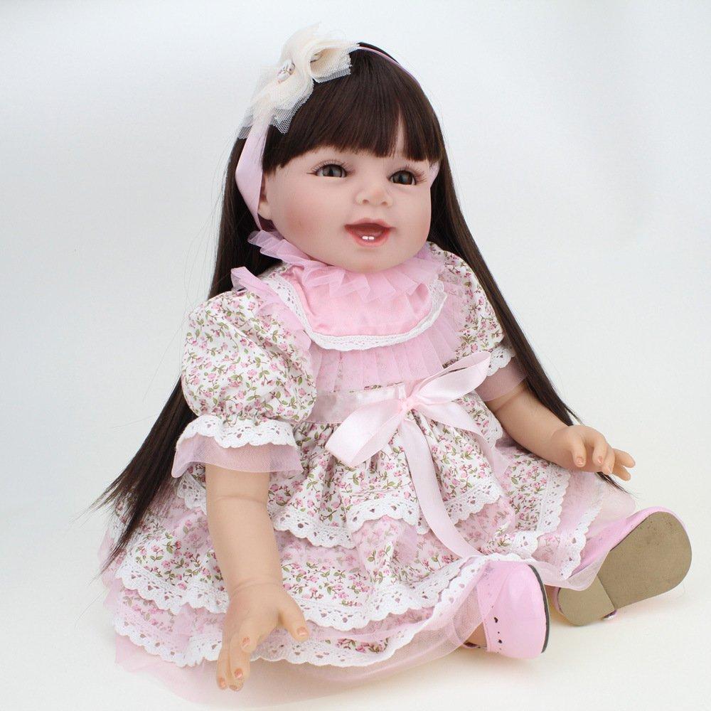 YIHANGG Reborn Baby Puppen Handgemachte Lebensechte Realistische Silikon Vinyl Baby Puppe Weiche Simulation Schöne Augen öffnen Mädchen Lieblings Geschenk Kann Gewaschen Werden
