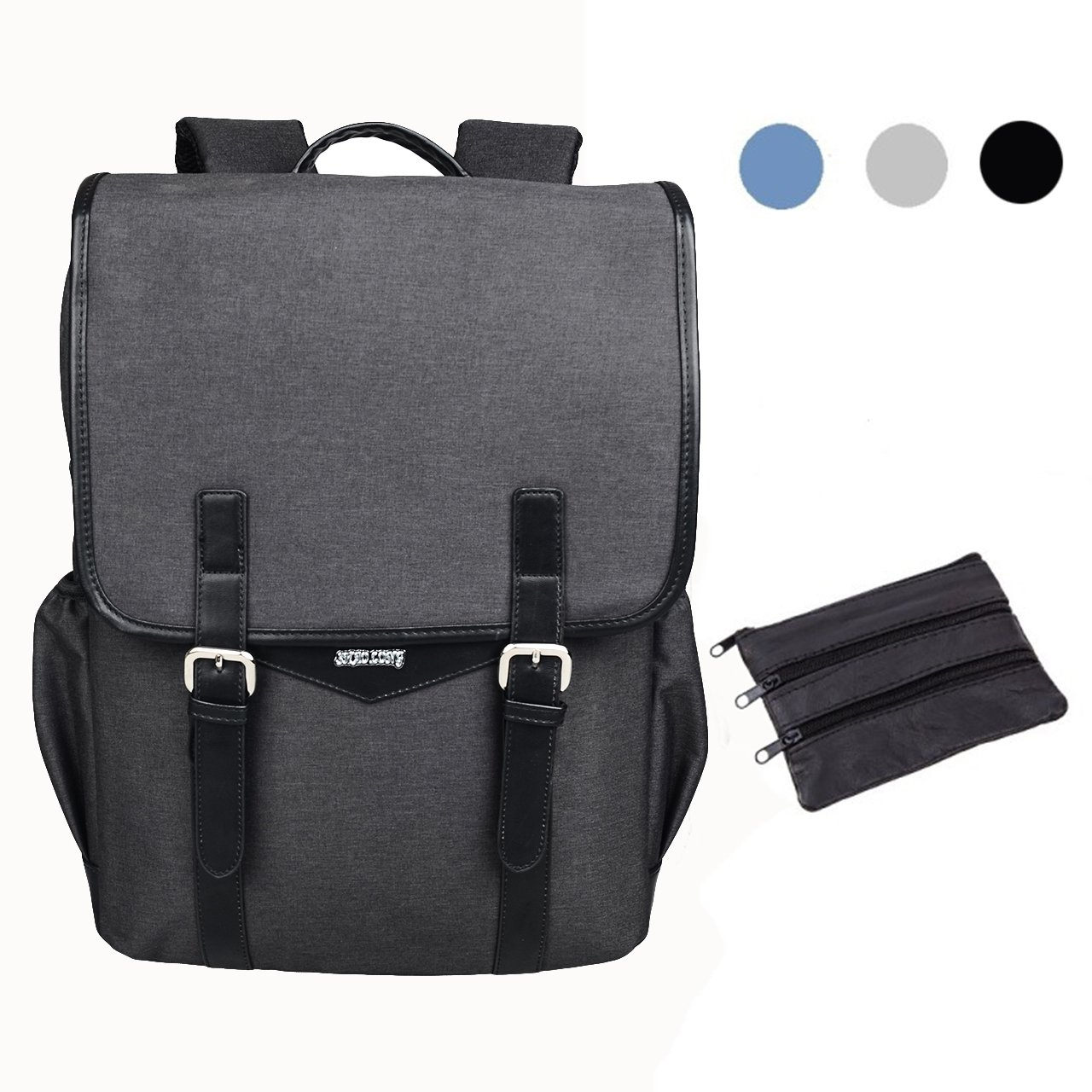 SHAOLONG Canvas Water Repellent Laptop Backpack 15.6 Inch Computer Bag Business Bag School Backpack Traveling Backpack Black