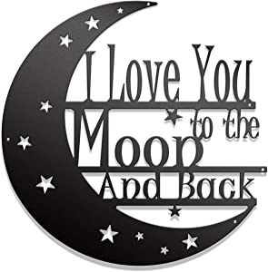 I Love You to the Moon and Back Metal Wall Art - Steel Roots Decor - Laser Cut 18 Inch Living Room, Bedroom, or Nursery Decoration, Indoor and Outdoor Use, Veteran Made