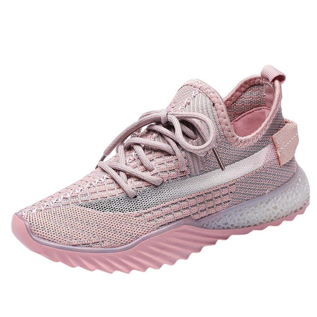 Dermanony Women's Lace up Athletic Shoes Outdoors Casual Shoes Fashion Sneakers Slip on Shoes Mesh Breathable Sneakers Pink by Dermanony _Shoes