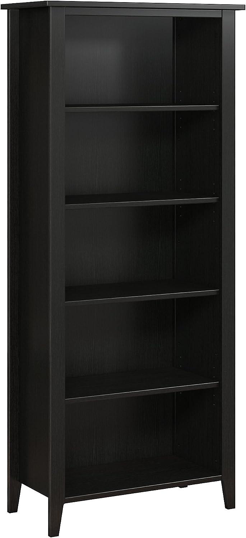 Bush Furniture kathy ireland Home Connecticut 5 Shelf Bookcase, Black Suede Oak