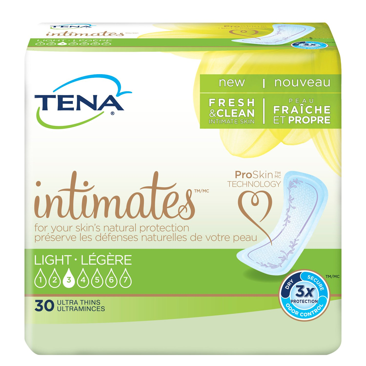Tena Incontinence Ultra Thin Pads for Women, Light, Regular, 30 Count (Pack of 6) - (Packaging May Vary)