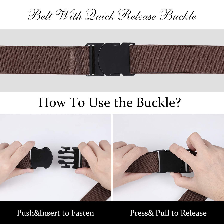 LEACOOLKEY Nickle Free Metal Free Belt, No Show Mens Stretch Belts - Elastic Webbing Belt with Flat Plastic Buckle, Travel Friendly Men Belt(Coffee, Pants Size Below 34 Inches)