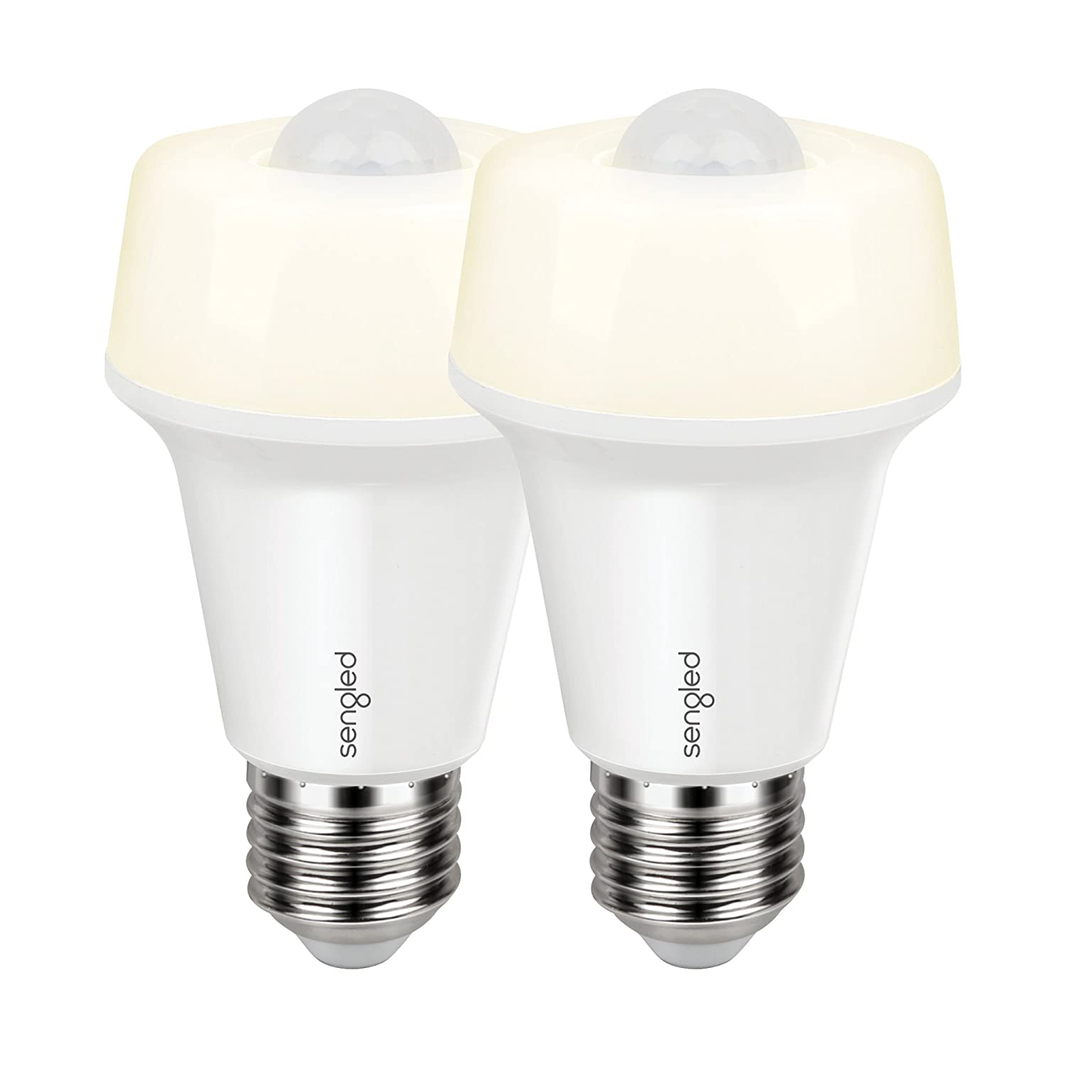Sengled Smartsense LED Light Bulb with Motion Sensor, A19 Smart LED Night Light Soft White 2700K, E26 Base 60W Equivalent, 2 Pack SSA19ND827-P2