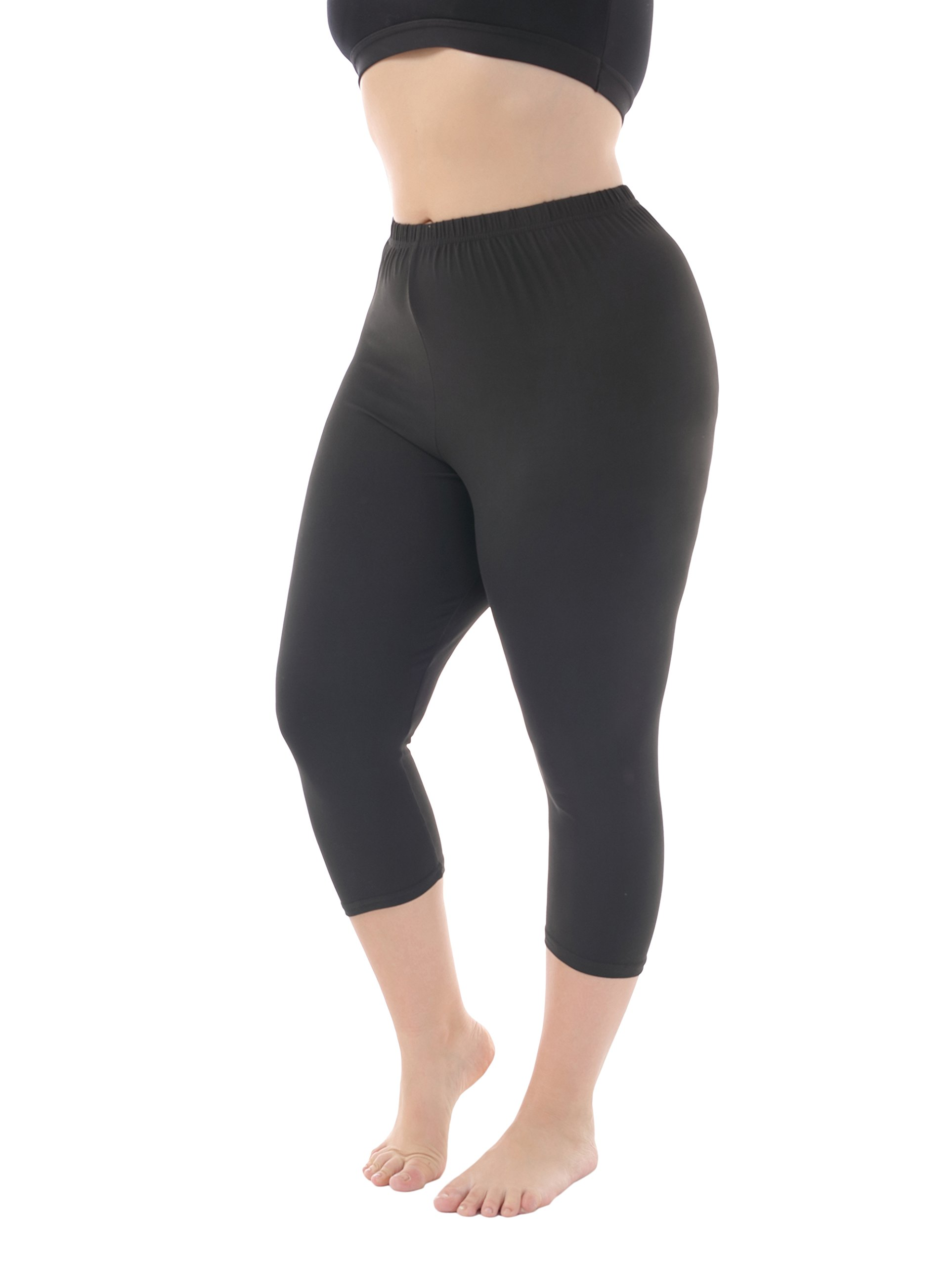 Zerdocean Women's Modal Plus Size Basic Capri Leggings Black 4X
