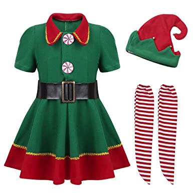 540c87510d36 IEFIEL Children's Girl's/Boy's Festive Party Holiday Santa's Elf Costume Christmas  Outfits Fancy Dress up