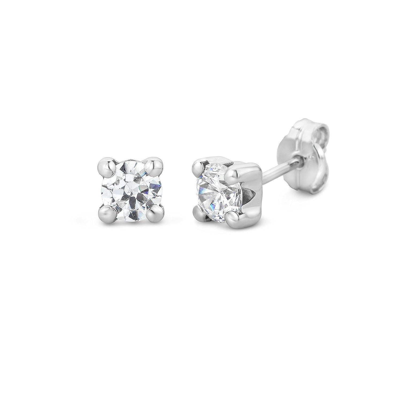 4e1580e6c9dcc Miore Women's 9 ct White Gold Round Sapphire Stud Earrings
