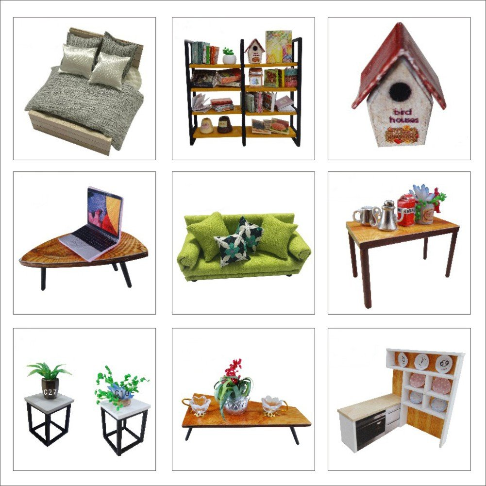 CUTEBEE Dollhouse Miniature With Furniture, DIY Wooden