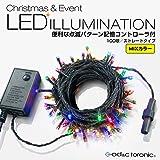 【AD&C TORONIC】LEDイルミネーション 100球ストレートタイプ 10m メモリー機能内蔵コントローラー付 カラー: ミックス 10連結可能タイプ