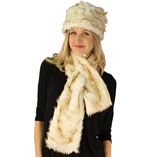 0a5e4d909c5 Ladies Winter Soft Animal Print Faux fur Bucket Ski Cap Hat Scarf Set Cream