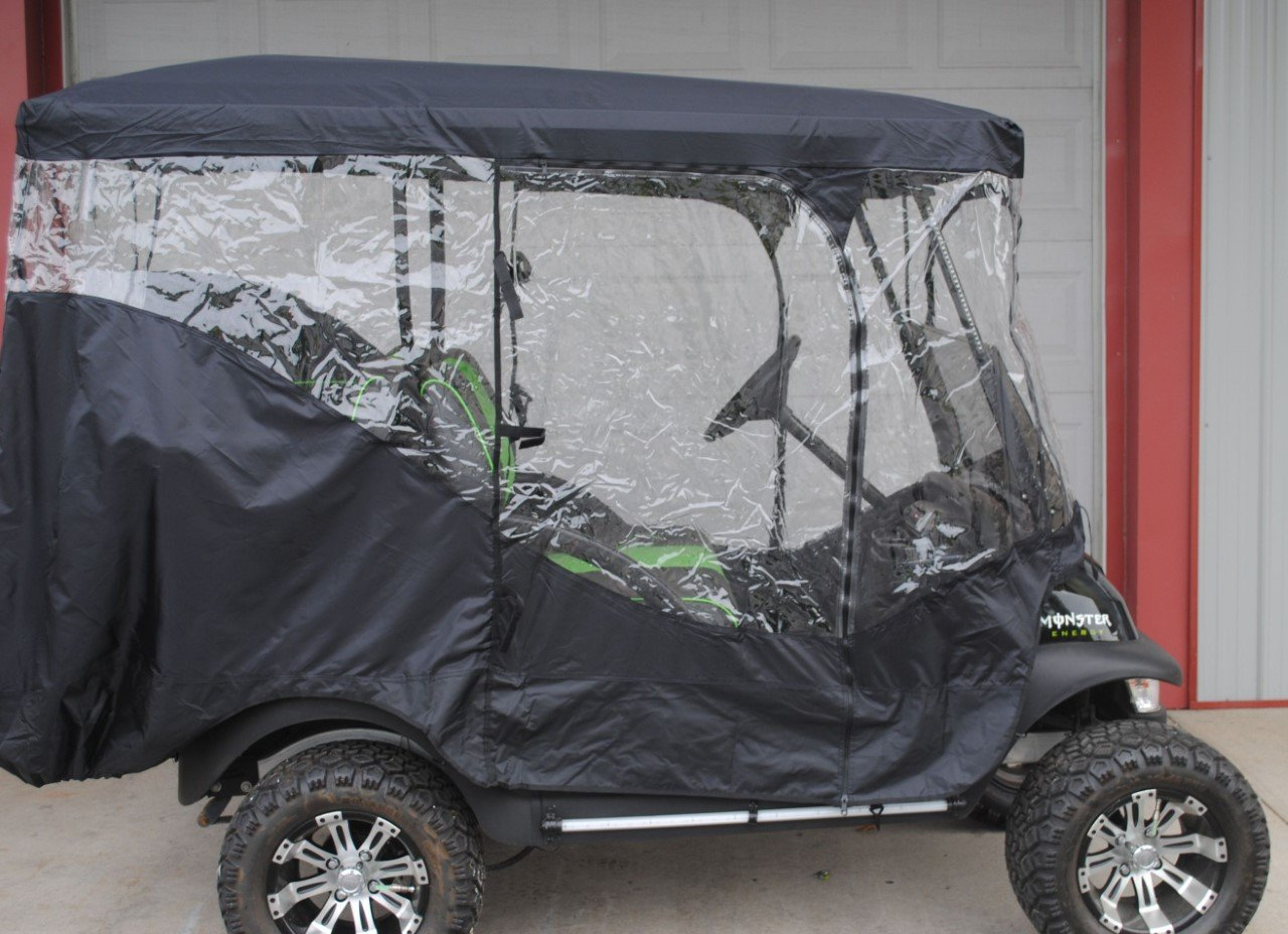Rain Cover Enclosure for LIFTED CARTS Golf Cart 4 Four passenger with Extended Roof and Back Seat Black EZGO Clubcar Yamaha