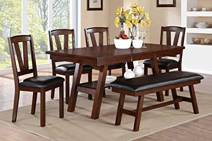 Poundex F2271 F1331 F1332 Dark Walnut Table Chairs Bench Dining Set