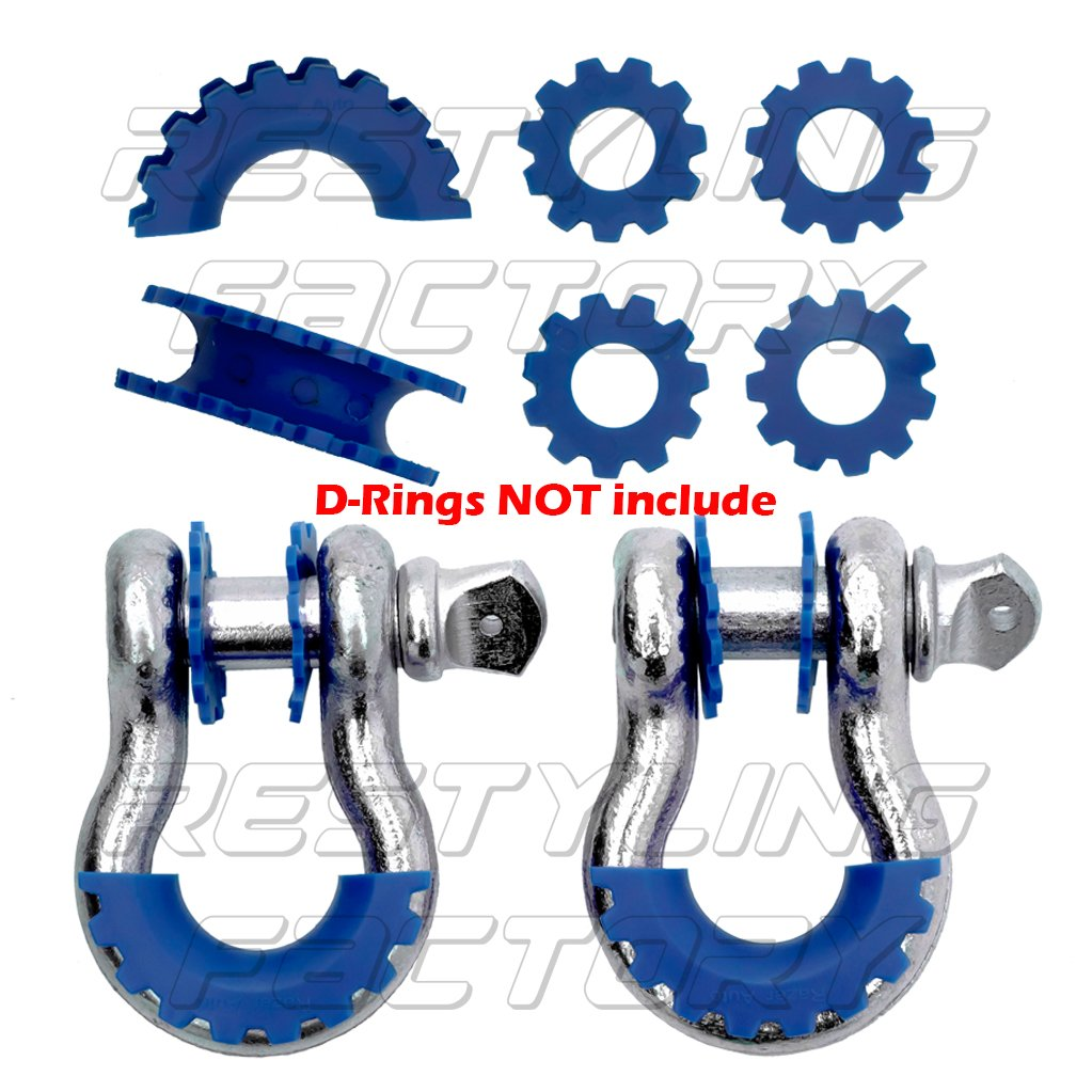 Restyling Factory Blue D-Ring Shackle Isolator & Washers 6pcs Set Gear Design Rattling Protection Cover (Blue) RFZZ1064