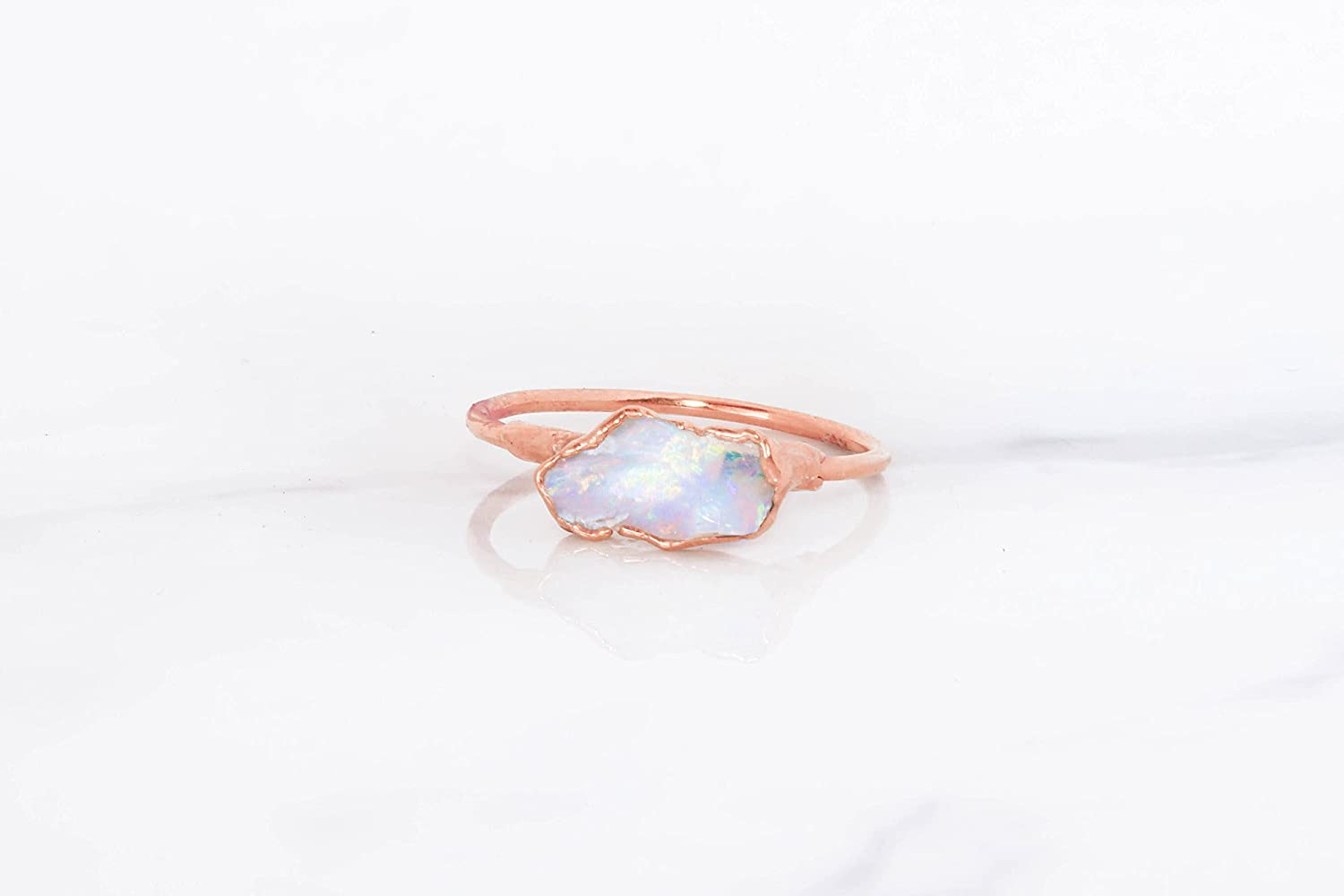 aba54cee1 Amazon.com: Raw Opal Ring, Size 8, Rose Gold, October Birthstone Stacking  Ring: Handmade