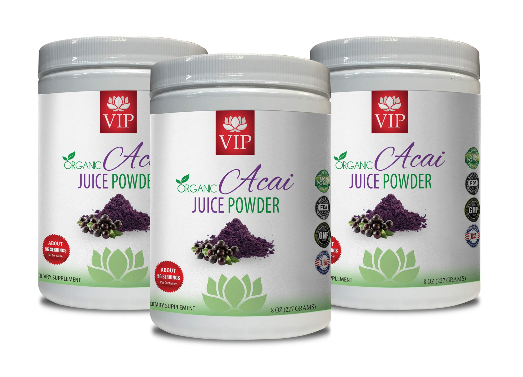 Super antioxidant Supplement Organic - Organic ACAI Juice Powder - acai Juice Organic - 3 Cans 24 OZ (195 Servings)