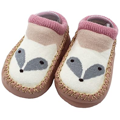 Kehen Infant Baby Boy Girl Animal Moccasins Non-Skid Indoor Slipper Toddlers Winter Warm Shoes