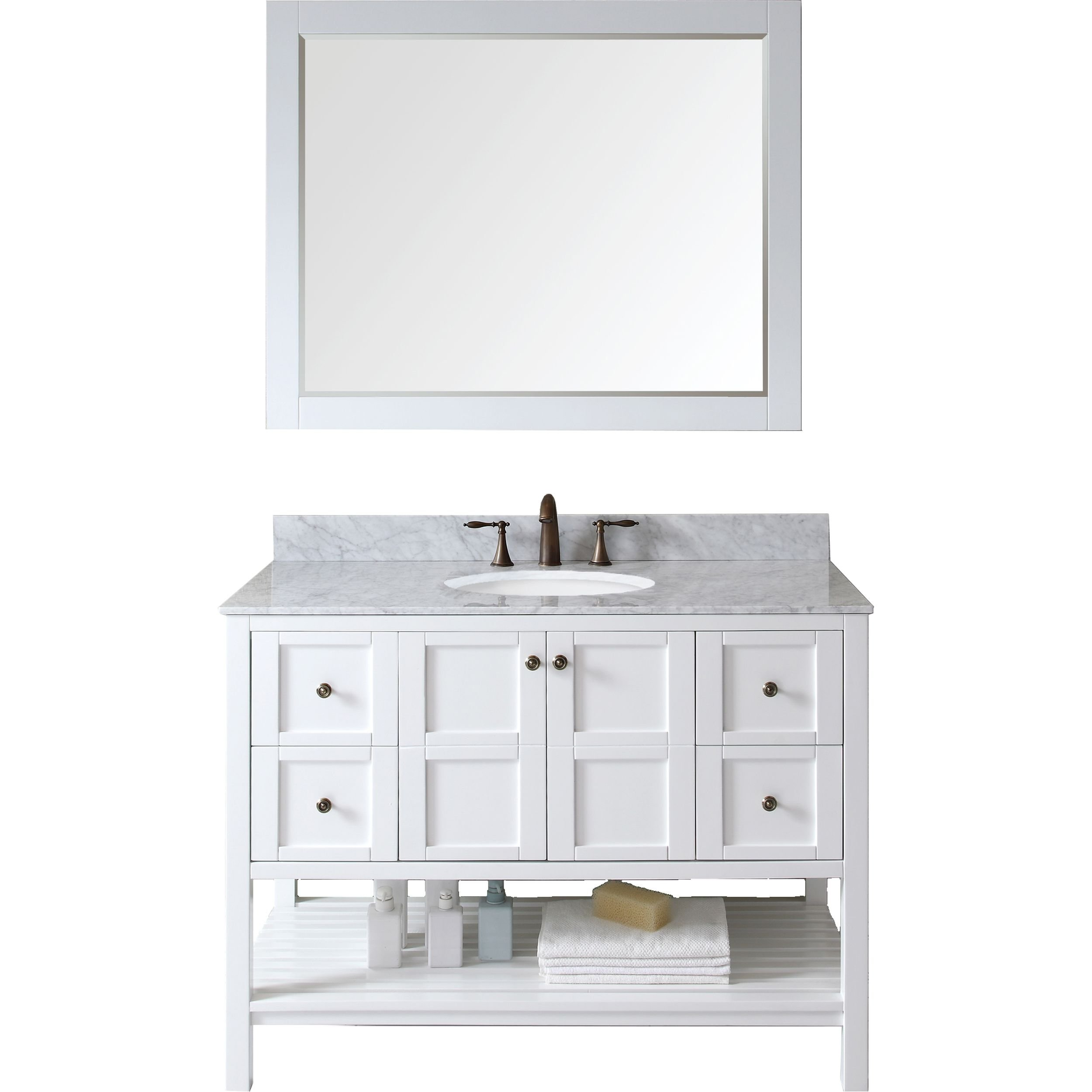 Virtu USA ES-30048-WMRO-WH Not Applicable Winterfell 48 inch single Bathroom Vanity In White with Marble Top & Round Sink with Mirror