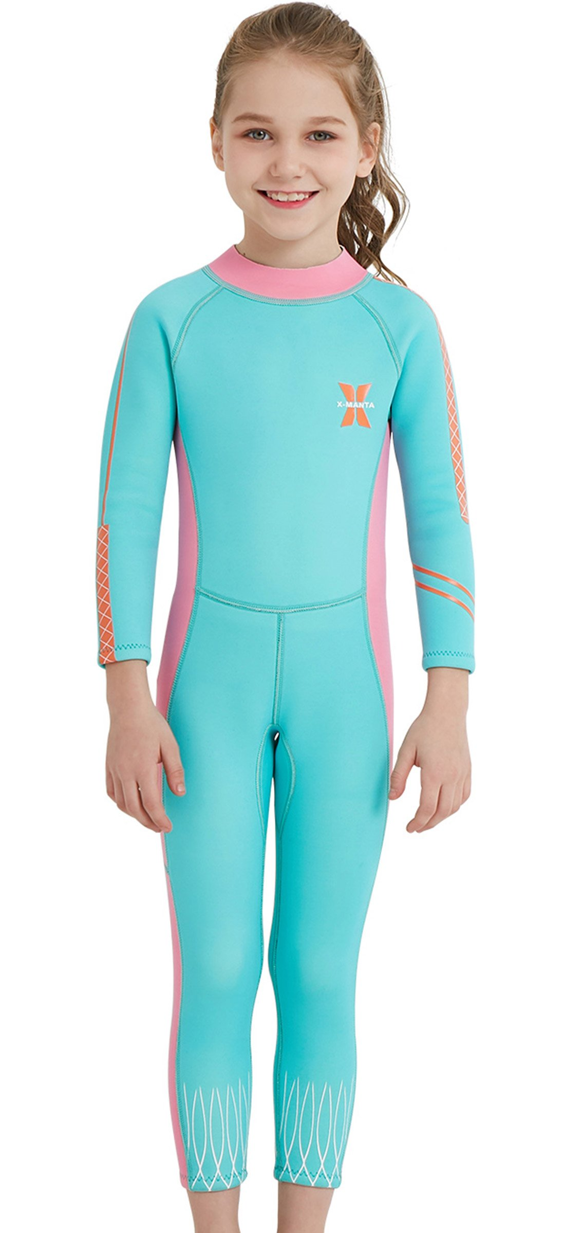 DIVE & SAIL Girls 2.5mm Diving Suit Warm Long Sleeve Full Wetsuit Back Zipper One Piece Swimsuit for Kids Blue S by DIVE & SAIL