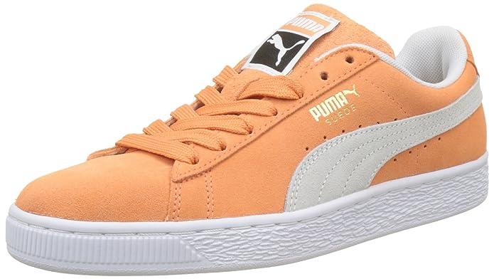 Puma Suede Classic Sneaker Damen Herren Unisex Wildleder Orange mit weißem Streifen (Melon)