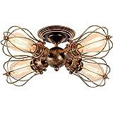 Vintage Ceiling Light Adjustable Industrial Ceiling Light Retro Indoor Ceiling Lighting Fixture (4-Light Lamp Base, Oil Rubbed Bronze)