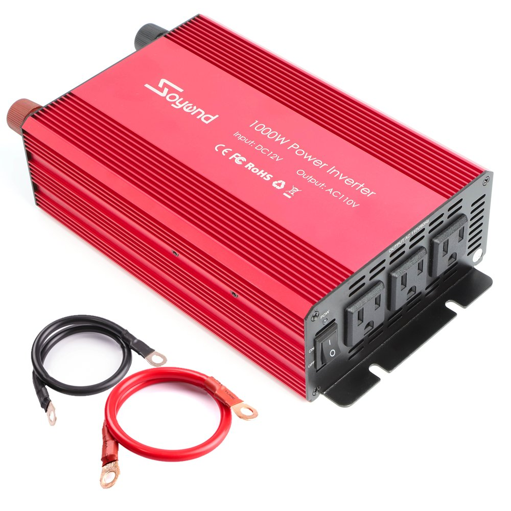 Soyond 1000W Car RV Power Inverter DC 12V to 110V 120V 3 AC Outlets Home Car RV Solar Power Converter for Household Appliances For Emergency, Hurricane, Storm and Outage