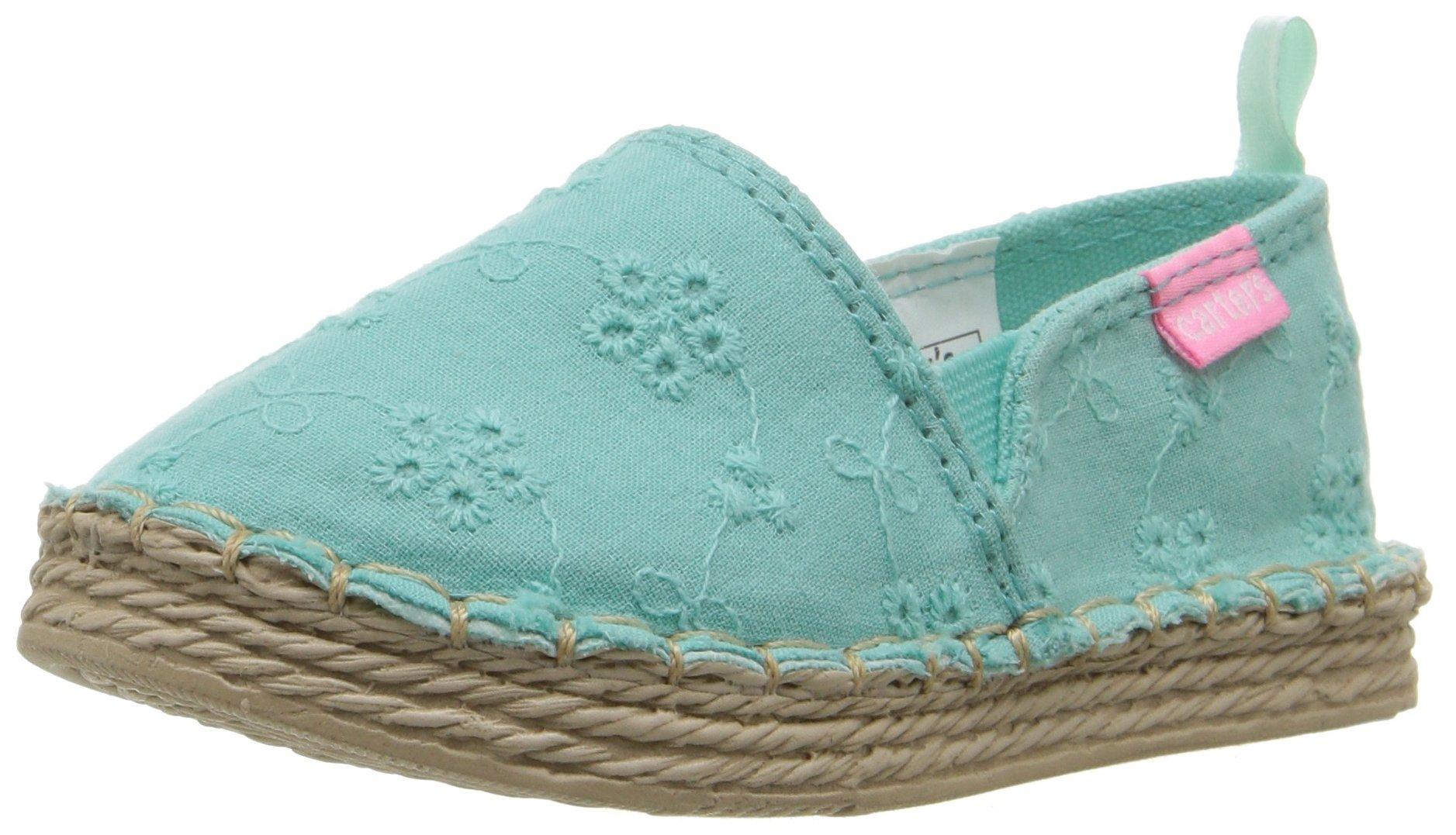 Carter's Astrid Girl's Espadrille Slip-On, Turquoise, 10 M US Toddler