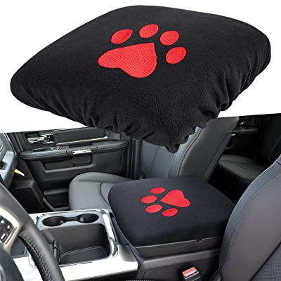 E-cowlboy Center Console Armrest Pad Cover for Dodge Ram 1500 2500 3500 4500 5500 Pickup Trucks 1993~2020 Black Soft Car Armrest Protector Cushion All Seasons (Red Dog Paw): Automotive