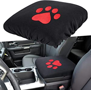 E-cowlboy Center Console Armrest Pad Cover for Dodge Ram 1500 2500 3500 4500 5500 Pickup Trucks 1993~2018 Black Soft Car Armrest Protector Cushion All Seasons (Red Dog Paw)