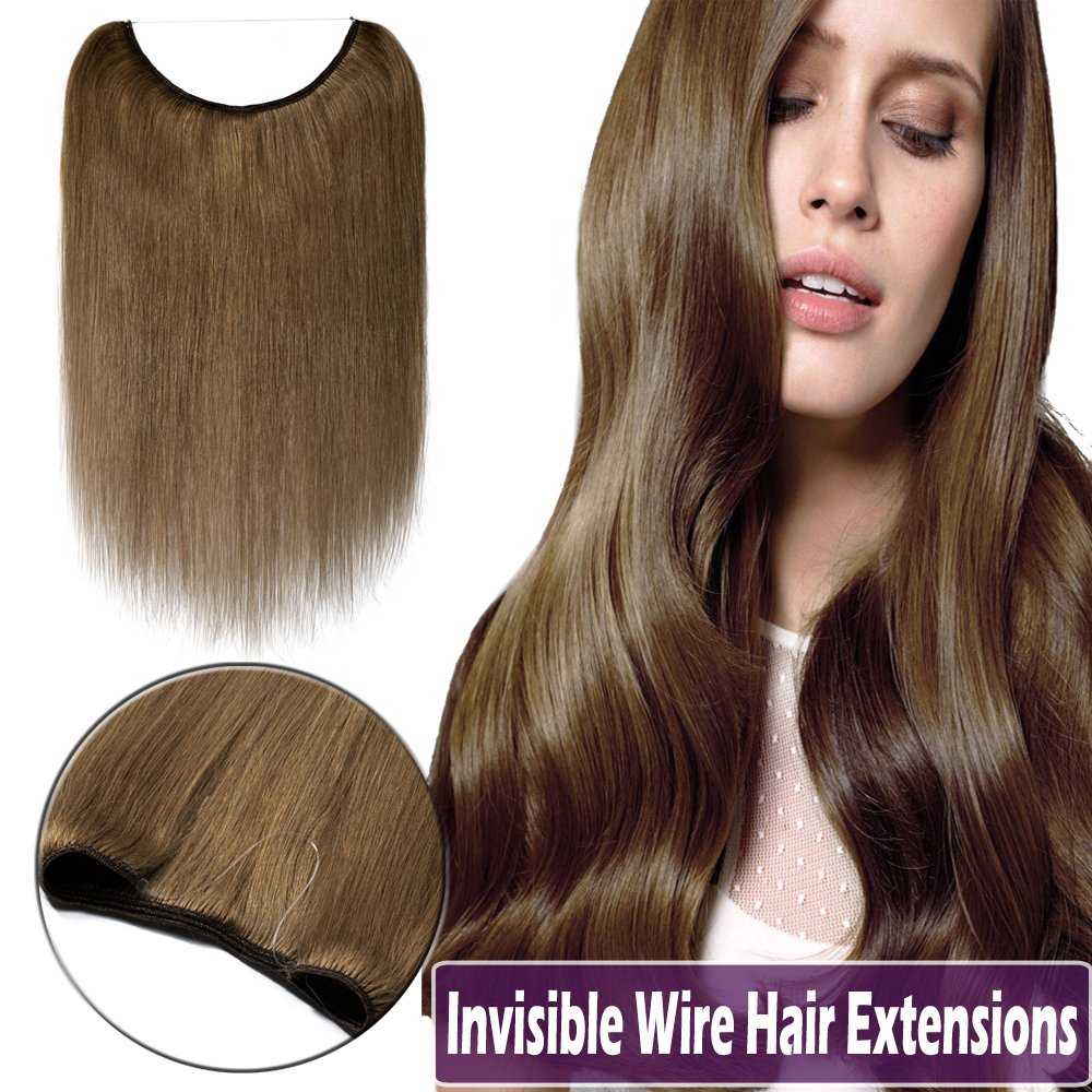 16-22 Human Hair Hidden Wire Extensions Highlight Secret Hair Extensions Long Straight No Clips No Glue Hairpieces Invisible Fish Line in 16 60g #12/613 Golden Brown Mix Bleach Blonde US Elailite Store