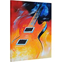 LVLUOYE Cuadros Modernos Pinturas al óleo sobre Lienzo Totalmente Pintada a Mano, Musica de Guitarra Multicolor Baratos Pared Cuadros Art Deco, Pintura Abstractas Sala Estar Dormitorio