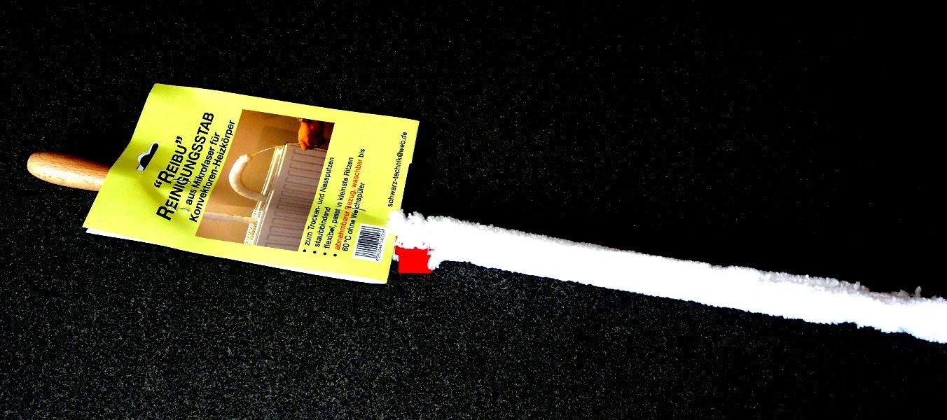staubbindend Reibu Reinigungsstab aus Mikrofaser f/ür Konvektoren Heizk/örper von Schwarz-Technik f/ür Lamellenabstand ab 1 cm flexibel
