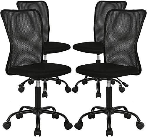 4 Pack Office Chair Desk Chair Computer Chair w/Lumbar Support Ergonomic Mid Back Mesh Adjustable Height Swivel Chair Armless Modern Task Executive Chair
