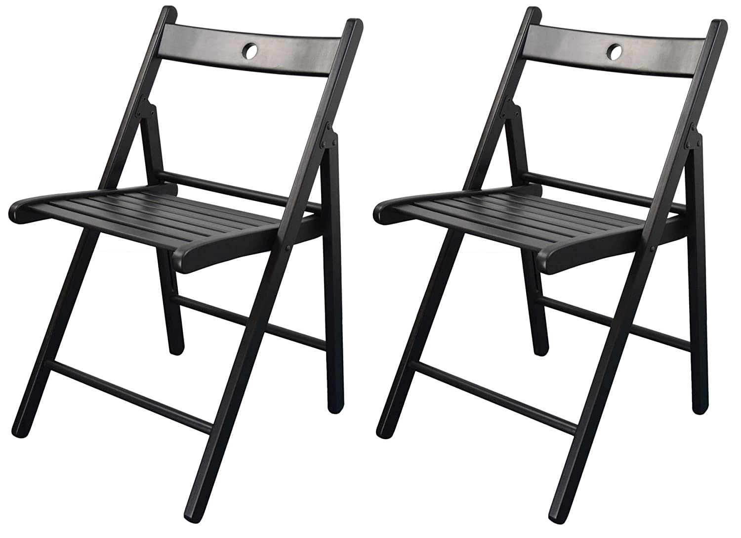 Harbour Housewares Wooden Folding Chairs - Black Wood Colour - Pack of 2…