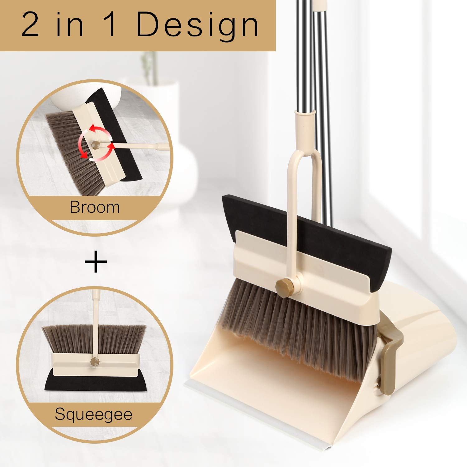 MOCREO Dustpan and Broom and Floor Squeegee Set, Dustpan Cleans Broom Combo with Long Handle For Home Kitchen Room/Office/Lobby Floor, Use Upright Stand Up Dustpan Broom & Squeegee Set by MOCREO (Image #2)
