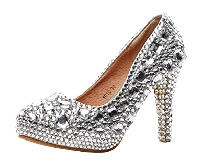 e59d9fe8ae Jiandick Womens Rhinestone Platform Stiletto High Heels Wedding Prom  Evening Dress Pumps, White, 6
