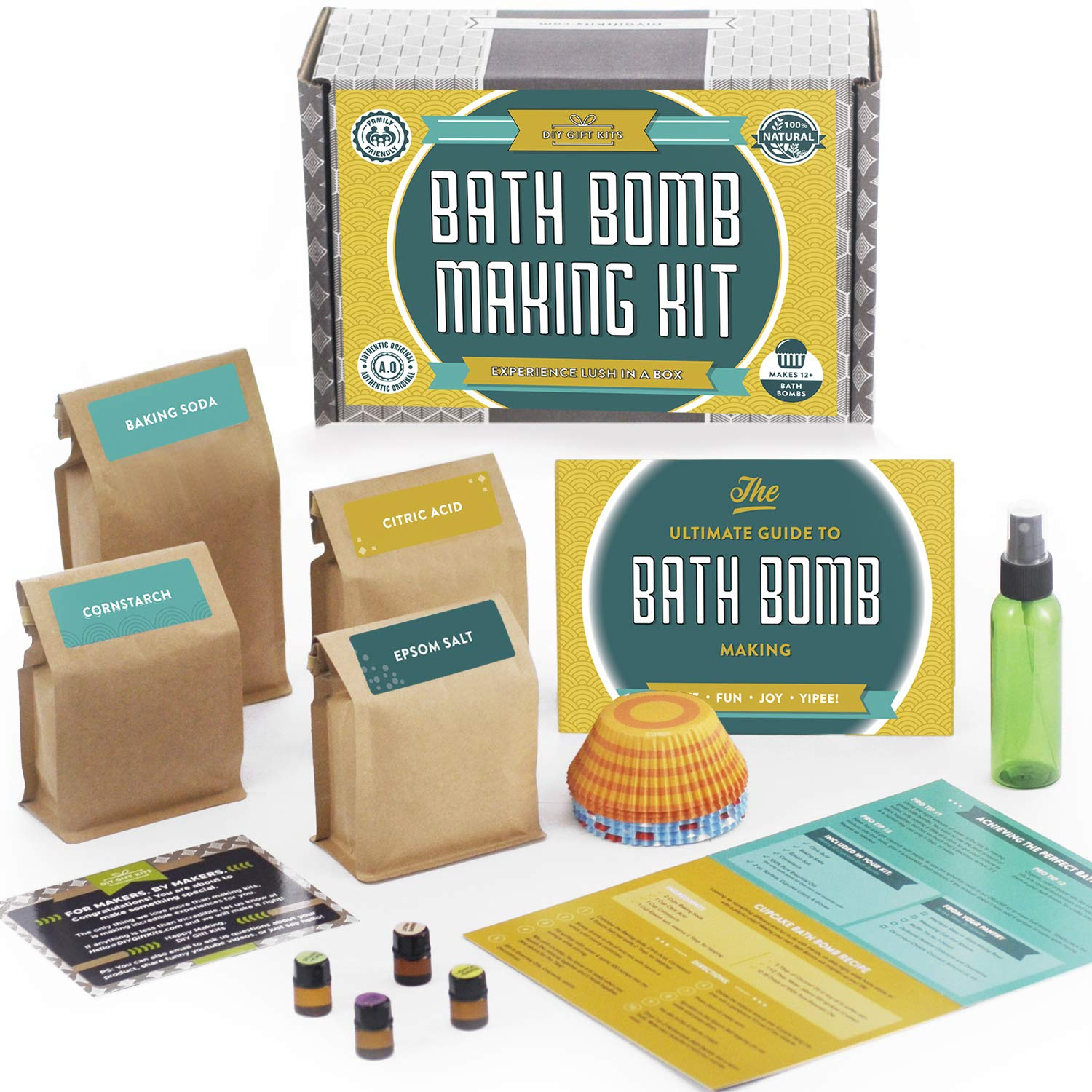 Bath Bomb Making Kit with 100% Pure Therapeutic Grade Essential Oils, (Makes 12 DIY Lush Cupcake Mold Bath Bombs), Gift Box Included. Spa In A Box Bath Bomb Kit Deluxe
