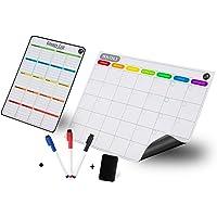 مجموعة لوح مخطط التقويمات الأسبوعية الشهرية للسبورة البيضاء المغناطيسية تشمل تقويمًا مغناطيسيًا وقائمة البقالة…